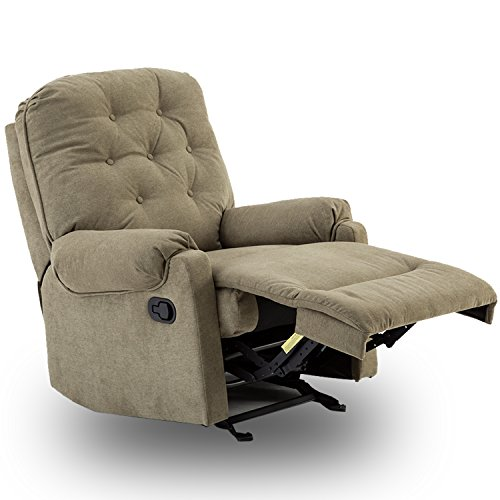 BONZY Glider Recliner Tufted Overstuffed Chair with Easy Gliding Track - Sage - Low Back Swivel Rocker