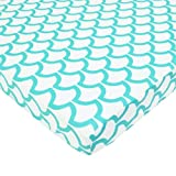 TL Care 100% Cotton Percale Fitted Mini Crib Sheet, Aqua Sea Wave