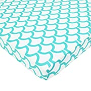 American Baby Company Fitted Portable/Mini Crib Sheet, 100% Cotton Percale, Aqua Sea Waves