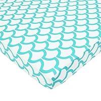 TL Care 100% Cotton Percale Fitted Mini Crib Sheet, Aqua Sea Wave