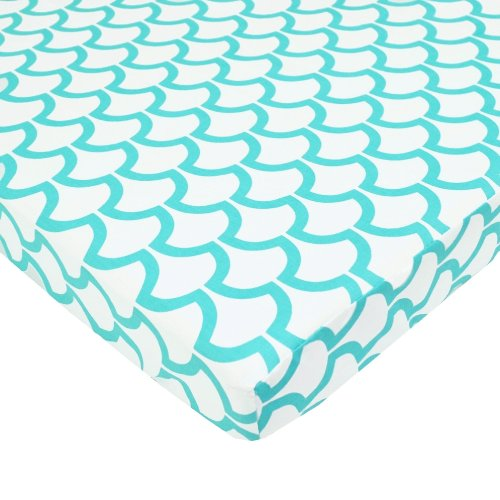 TL Care 100% Cotton Percale Fitted Mini Crib Sheet, Aqua Sea Wave (Aqua Crib Sheet)