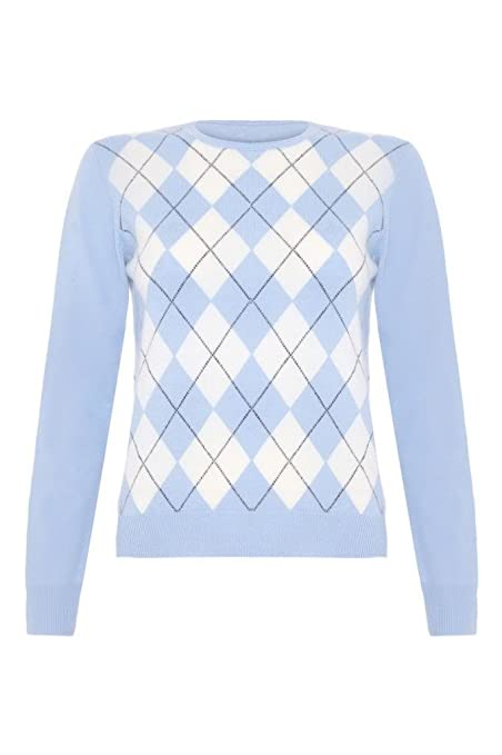 Ladies Cashmere Argyle Round Neck Sweater by Scottish Wear