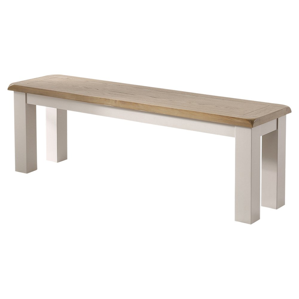The Furniture Market Chester Grey Painted Medium 3 Seater Bench 140 cm Long with Oak Top