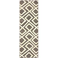 Superior Flagstone Collection Area Rug, 6mm Pile Height with Jute Backing, Affordable and Contemporary Rugs, Modern Geometric Diamond Pattern - 27 x 8 Runner, Grey