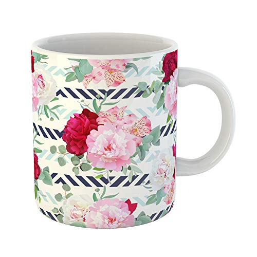 (Emvency Coffee Tea Mug Gift 11 Ounces Funny Ceramic Striped Navy and Light Blue Floral Peony Alstroemeria Lily Mint Eucalyptus Pink Gifts For Family Friends Coworkers Boss Mug)