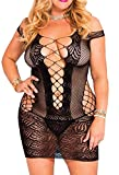 IYISS Women's Seamless Hollow Out Fishnet Chemise Standard N Plus (Plus Fits XL-3XL, Black)