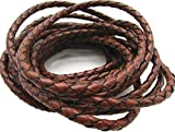 5.0mm Round Folded Genuine Leather Cords for Bracelet Necklace Jewelry Making (Brown, 5 Meters)