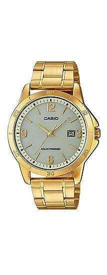 CASIO MTP-VS02G-9A - Reloj de caballero analógico. Dorado. Solar: Amazon.es: Relojes