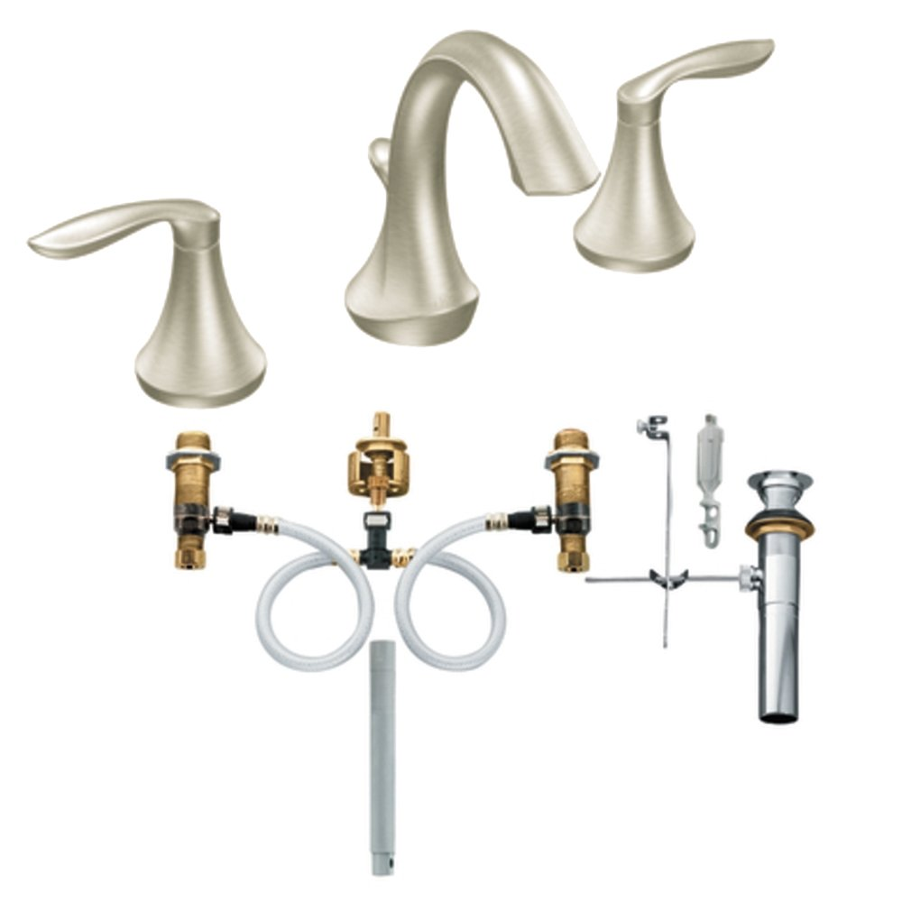 Moen T6420BN-9000 Eva Two-Handle High Arc Bathroom Faucet with Valve, Brushed Nickel by Moen