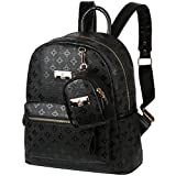 Vbiger 2 in 1 PU Leather Backpack Trendy Travel Backpack Chic Outdoor Daypack Casual School Backpacks for Women Rivets Decoration (Black1)