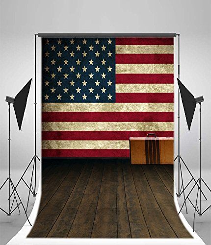 Memorial Portrait - Leyiyi 6x9ft Photography Background Vinyl Day 4th of July Independence Day American Flag Wooden Floor Retro Design Grunge Graffiti Memorial Ceremony Soldiers Children Photo Portrait Studio Video Prop