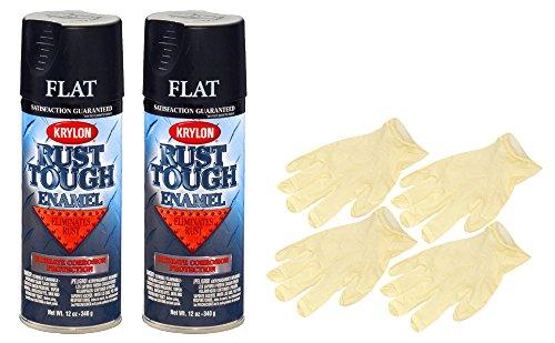 - Krylon RTA9218 'Rust Tough' Flat Black Rust Preventive Enamel (12 oz) Bundle with Latex Gloves (6 Items)