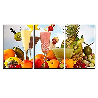 3 Piece Canvas Wall Art - Tropical Fruits Smoothies with Garnishes - Modern Home Art Stretched and Framed Ready to Hang - 16