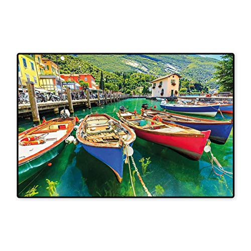 Italy Door Mat Indoors Summer Landscape and Wooden Boats on The Lake Garda Torbole Town Fishing Maritime Floor Mat Pattern 32