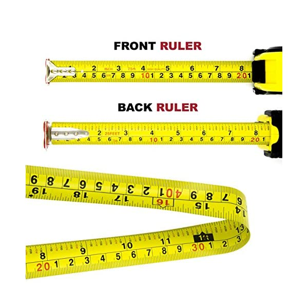 Measuring-Tape-Measure-By-Kutir-EASY-TO-READ-25-Foot-BOTH-SIDE-DUAL-RULER-Retractable-STURDY-Heavy-Duty-MAGNETIC-HOOK-Metric-Inches-and-Imperial-Measurement-SHOCK-ABSORBENT-Solid-Rubber-Case