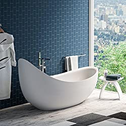 "MAYKKE Hialeah 79"" Modern Unique Large Acrylic Freestanding Bathtub 