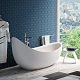 "MAYKKE Hialeah 79"" Modern Unique Large Acrylic Freestanding Bathtub White Soaking Curved Slipper Headrest Tub in Bathroom, Shower cUPC Certified, Drain & Overflow Assembly Included XDA1421001"