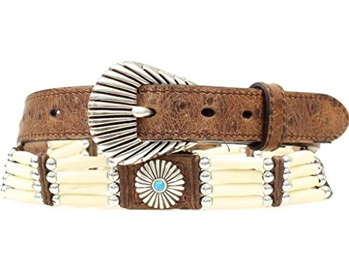 Nocona Women's Bone Beaded Concho Ostrich Print Leather Belt Brown Small by Nocona Boots