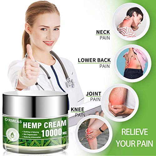 Natural Hemp Cream for Muscle,Joints,Hips,Back,Knees,Neck Natural Hemp Oil Extract Gel 10000 MG/ 4 oz