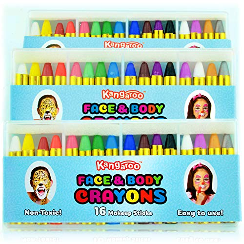 Kangaroo's Face Paint Crayons for Kids, 16 Colors Face & Body Painting Makeup Crayons, Safe for Sensitive Skin, Metallic & Classic Colors, Great for Birthday Party's Fundraisers & Halloween]()