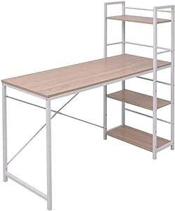 vidaXL - Mesa de Oficina con 4 estantes, Color Roble: Amazon.es: Hogar