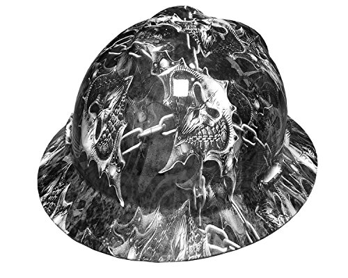 Full Graphics Hard Hat - Izzo Graphics Warrior White MSA V-Guard Full Brim Hard Hat