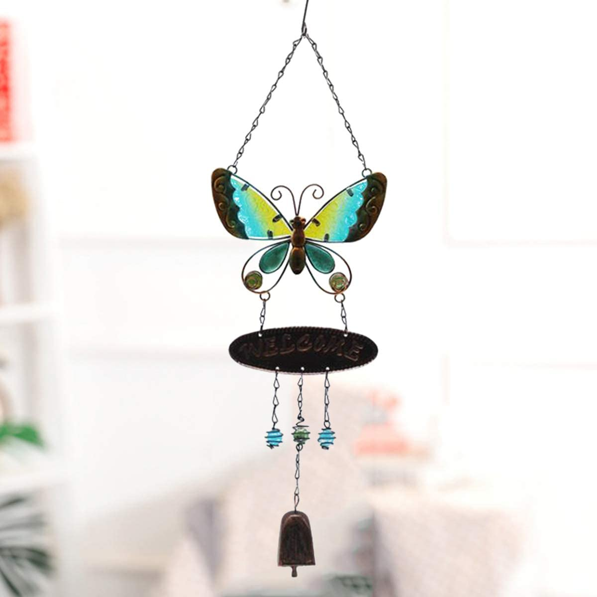 JOXJOZ Butterfly Wind Chimes Outdoor/Indoor Metal & Stained Glass Wind Chime Wall Hanging for Home,Party,Festival Decor,Garden,Yard Decoration,Gift for Mom and Grandma (Green)