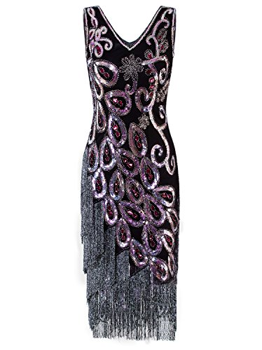 Vijiv Women's 1920s Elegant Flapper Dress Gatsby Long Art Deco Fringed Sequin Cocktail Dresses Party ()