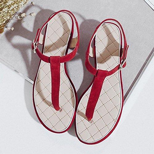 Frau Ledersandale Spiraea Ordner Ci Sandalen buchstabieren Farbe mit dick mit weiblicher wilder Mode red