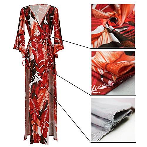 Plumas V Red Cuello Y033 Sexy Señoras Pieza Mono Pantalones Impresas r1waqr