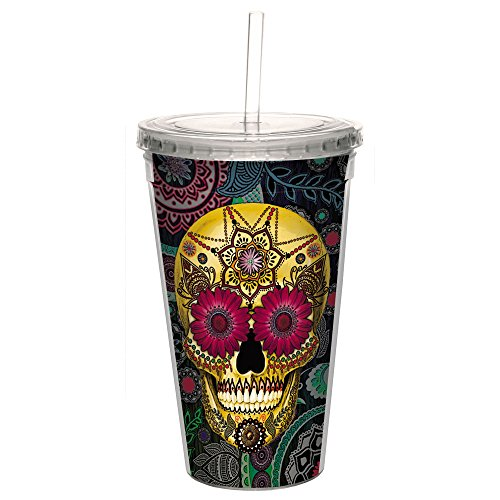 Rose Lid Sugar - Tree-Free Greetings CC98941 Cool Cups, Double-Walled PBA Free with Straw and Lid Travel Insulated Tumbler, 16 Ounces, Sugar Skull Roses