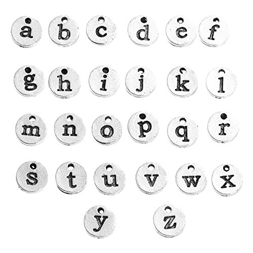 (Alphabet Letter Pendant Charms, Silver Tone - DIY Crafts, Jewelry Making, Personalization (Typewriter 10mm))