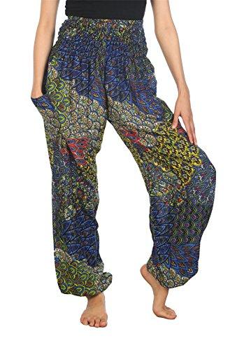 Waist Peacock Harem Pantaloni Lofbaz Boho Blu B 2 Pilates Elefante Smocked Donna Yoga SIWzFxqdzU