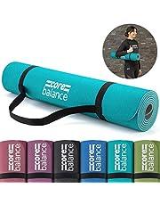 Core Balance TPE Yoga Mat, 6mm Thick Foam, Non Slip, Eco Friendly, Tear Resistant, Pilates Exercise Fitness, Carry Strap, 183cm x 65cm x 6mm