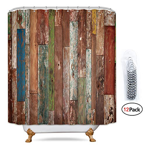 Riyidecor Antique Wooden Shower Curtain 72x78 Inch Metal Hooks 12 Pack Red Blue Grey Grunge Rustic Planks Barn House Wood and Lodge Hardwood Decor Fabric Bathroom Waterproof (Shower Curtain Brown And Red)