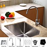 Kraus KHF200-36-KPF2150-SD20 Farmhouse Single Bowl Stainless Steel Kitchen Sink with Faucet and Soap Dispenser