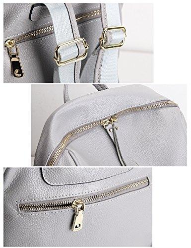 CUKKE Damen Echtes Leder Rucksack Wandern Reisetasche Pink Grau