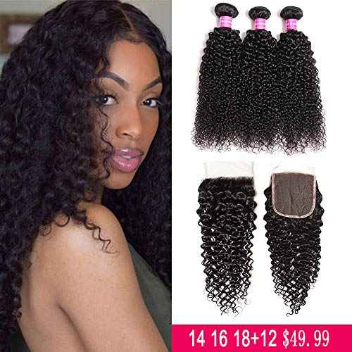 JOSUA hair Brazilian Kinky Curly Bundles with Closure (14 16 18+12) 4x4 9A 100% Unprocessed Human hair 3 Bundles with Lace Closure Free Part Natural Color (Best Kinky Curly Hair)