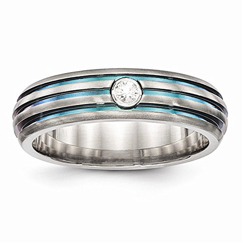 Edward Mirell Multi Color Anodized Triple Groove White Sapphire Titanium Wedding Band - Size 12 by Edward Mirell