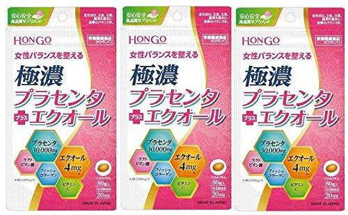 極濃プラセンタ + エクオール 80粒 HONGOX3個セット B079D8W9JG