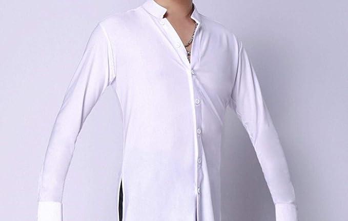 kuoshaoye Camiseta de Baile Latino, Manga Larga, Cuello Alto, Tango Rumba Cha Cha Flamengo Ballroom, Camisetas de Baile para Hombres Blanco Blanco M: Amazon.es: Ropa y accesorios