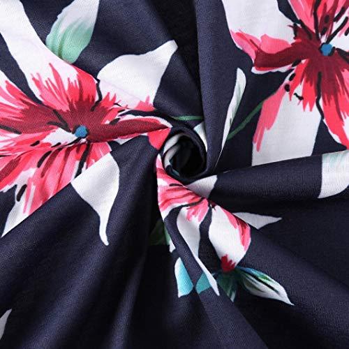 Manga oscuro Cortas Vestido Vestidos Baratas Tres de de de Mujer de Azul 2018 Mujeres Faldas Verano Cuartos Línea Largos Floral Zolimx Impresión Una Fiesta Casual HSpOWHd