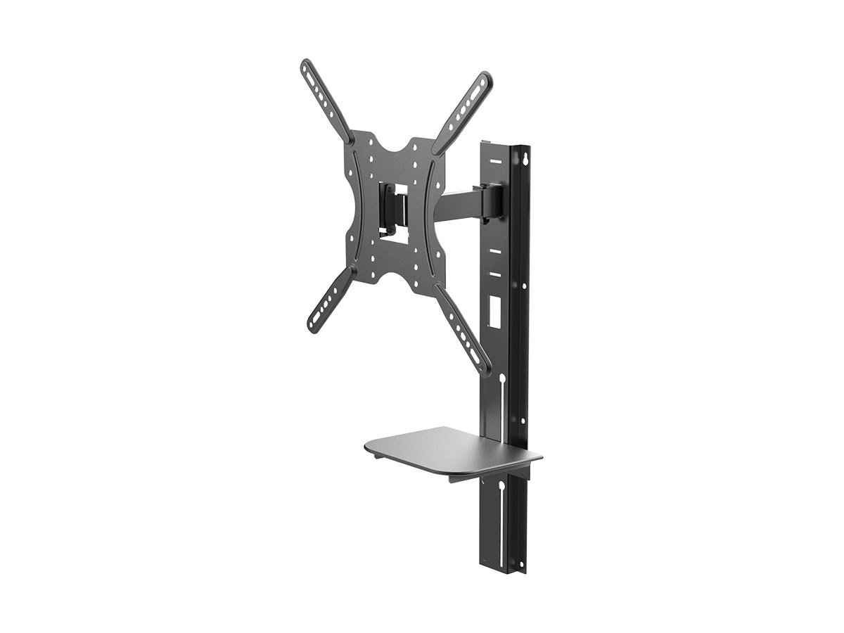 Monoprice Full-Motion Articulating TV Wall Mount Bracket with Media Shelf Bracket - For TVs 32in to 55in Max Weight 66lbs Extension Range of 3.8in to 9.4in VESA Patterns Up to 400x400