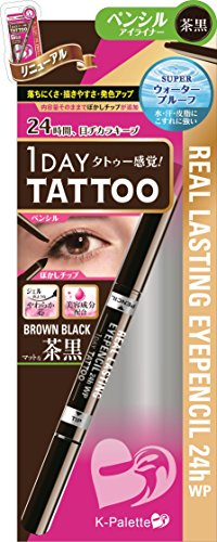 K Palette 1 Day Tattoo Real Lasting Eye Pencil Brown Black (Pencil Tattoo)