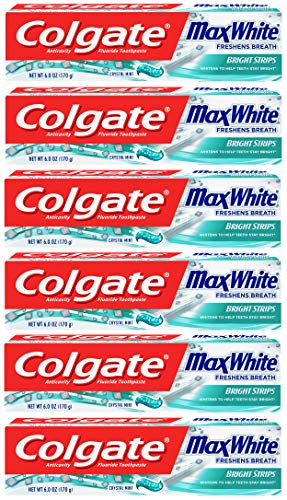 Colgate Max White Whitening Toothpaste with Bright Strips, Mint – 6 ounce (6 Pack)