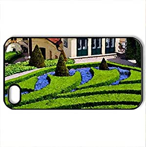 Beautiful Gardening - Case Cover for iPhone 4 and 4s (Houses Series, Watercolor style, Black) by icecream design