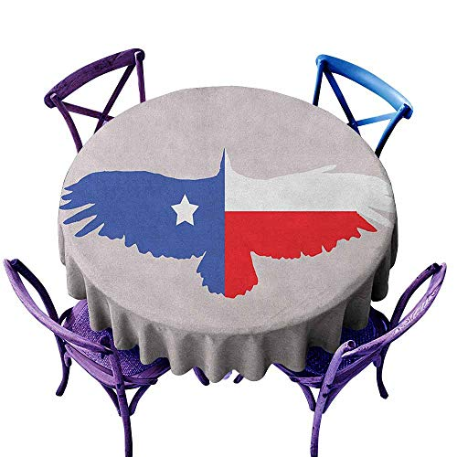 ONECUTE Round Solid Polyester Tablecloth,Texas Star Bald Eagle Silhouette with Lone Star Wings of Freedom Animal,Party Decorations Table Cover Cloth,55 INCH Violet Blue Vermilion White]()