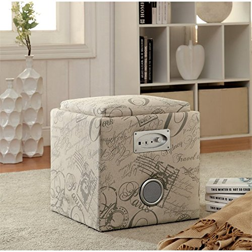 Furniture of America Addio Modern Storage Ottoman with Bluetooth Speaker, Ivory Script