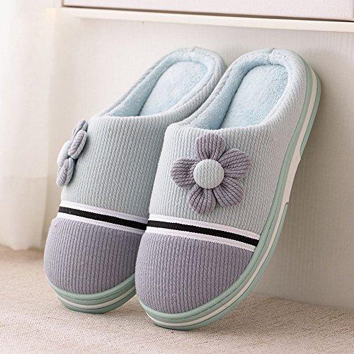 Halb-Winter-Paar mit Baumwoll-Pantoffeln Homewear Rutschfeste Abriebfeste Boden Warme Hausschuhe,F,39-40