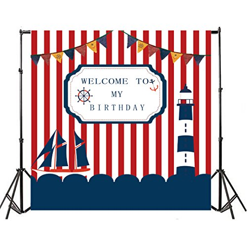 Yeele 5x5ft Birthday Party Photography Backdrops Vinyl Red and White Stripes Sailboat Anchor Watchtower Rudder Banner Decoration Background Sailor Adults Baby Portrait Photo Booth Studio Props ()